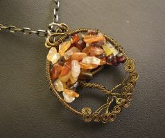 October - Carnelian Wire Tree by youvegotmaille