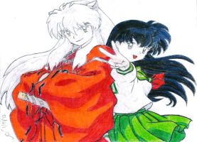 Coloring Practice: InuYasha and Kagome by SinisterSorrows