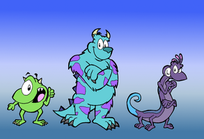 Monsters, Inc.: Mike, Sully, and Randall by TeamTeaandBiscuits
