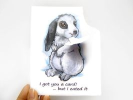Hungry Bunny Greeting Card by sobeyondthis