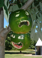 Comedy Tragedy Melon Masks by hirokiro