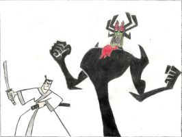 Samurai Jack's showdown with Aku by SKuKnowIt