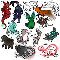 Point/USD Adoptables- 9 13  + 6 open by Purple--Turtle