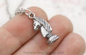 Knight Chess Piece Necklace by MonsterBrandCrafts