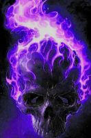 purple flamed skull by gchj555
