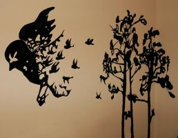 bird mural by uber-pansy