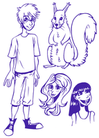 Boy, squirrel and girls by wolfie-janice