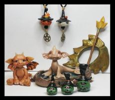 Littles Fantasy Creatures, Shawl Pin and Pendants by KabiDesigns