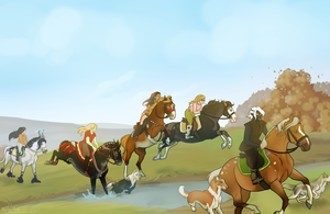Horses and Hounds by SpytFyre-Ranch