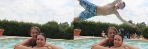 Photobomb fixed: Pool couple by drowe1016