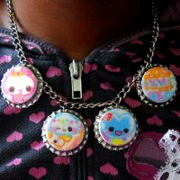 Kawaii Bottle Cap Necklace by SugarAndSpiceDIY