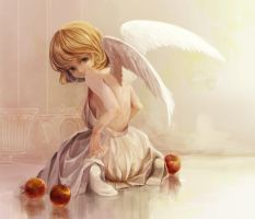 angel and apple by akanetonbo
