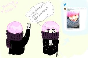 Yesung new selca and pink hair by HannaS2
