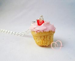 SCENTED Strawberry dream cupcake necklace by ilikeshiniesfakery