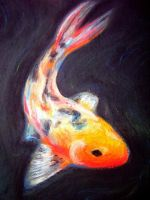 Swimming Koi in Pastel by Anna Choate by deepbluejupiter