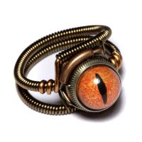 Steampunk reptile eye ring by CatherinetteRings