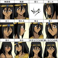 Maat's expression chart by GueparddeFeu