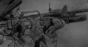 Israeli Soldier Drawing Pencil by AfroAfrican