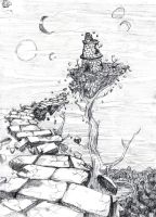 Floating Ruins -sketch by aconite-pawlove