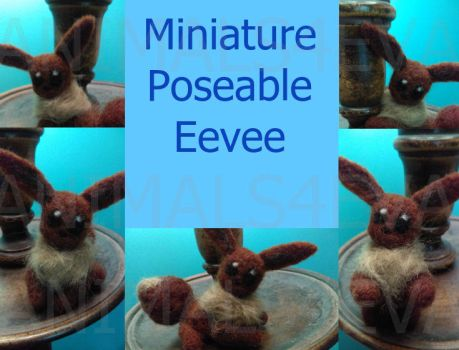 Mini Felted Eevee (poseable) by Animals4Eva