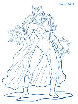 Scarlet Witch Lineart by Drawings-By-Alicia