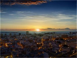 Rising sun over Las Palmas City by Kaslito