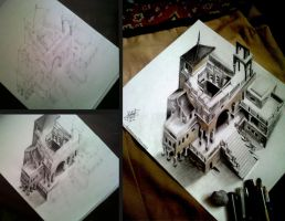 castle 3d drawing  by  arthur T. cortez by ATCdrawings