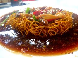 Fried Noodles Covered With Black Sauce by elloslai