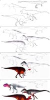 Step by step tutorial: HOW TO DRAW 4 DINOSAURS by Dennonyx