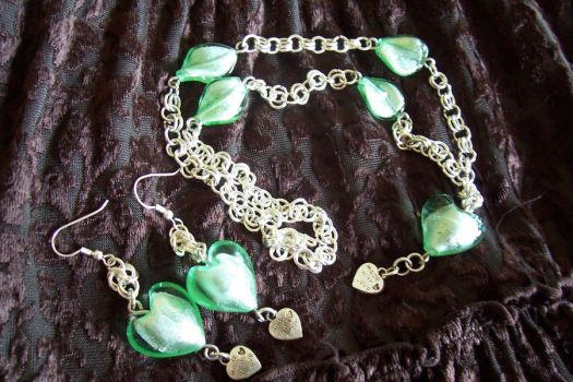 Made with love necklace -green by Libbyscreations