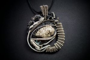 Pyrite nugget polymer clay wire wrapped pendant by dogzillalives