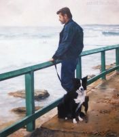 A Man and his Dog-Oil Painting by AstridBruning
