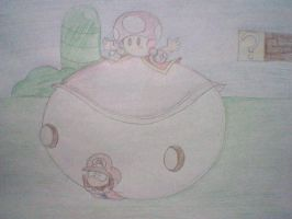 Toadette falls on Mario by Rattiesteps