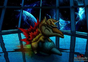Roger Cyndaquil the space pokemon by MetaDragonArt