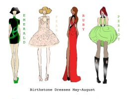 Birthstone Dresses May-August by DangerousBellaGrim