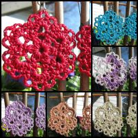 Lacy Flower and Pansy Variation Crochet Earrings by doilydeas