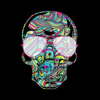 Skull Color Waves by Design-By-Humans