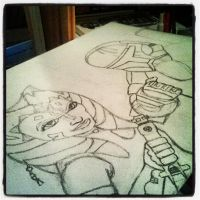 my WIP (finished) of Ahsoka and Scorch by JediJulie