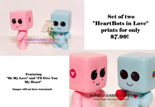 HeartBots in Love 4x7 Set by maskedrabbitcrafts