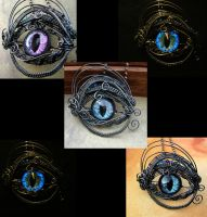 Blue Violet Colorshift smoke GLOW  Brooch Pendant by LadyPirotessa
