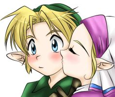 Zelda Kiss colored by NarutoxHinatafan