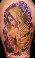 color virgin mary tattoo by Remistattoo
