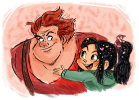Ralph and Vanellope by samycat