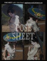 POSE SHEET 1 of 3: Geisha Parasol by themuseslibrary