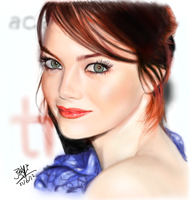 iPad Finger Painting - Emma Stone (repost w amdmt) by chaseroflight