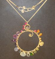 Necklace 242 Hammered necklace with multi gemstone by calicojunojewelry