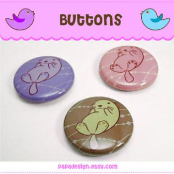 Buttons - Otters by Papacan