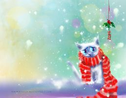 Holiday Card Project_ Kitty in Scarf by ANIMAfelis