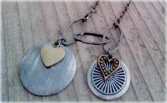 Metal Hearts Bronze Silver by AbsoluteJewelry