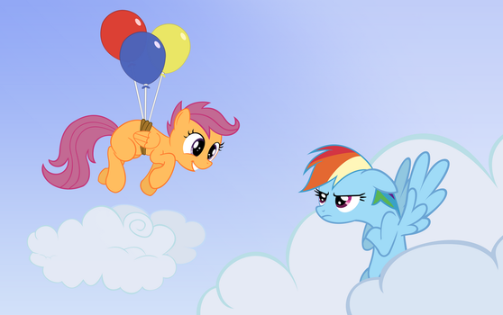 Rainbow Dash and Scootaloo on sky by ForsakenSharikan